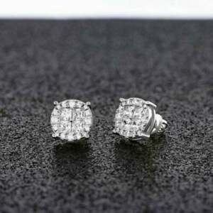Pretty 1CT D/VVS1 Round Diamond Mens Stud Earring Screw Back Real 10k white gold