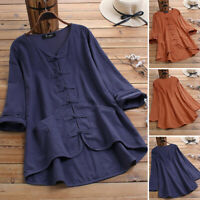 UK Womens Summer Cotton Linen Long Sleeve V Neck Shirt Casual Loose Tops Blouse