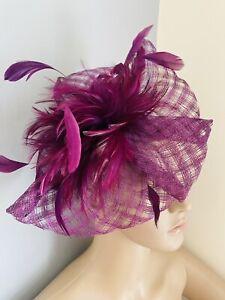 Purple Headband Fascinator wedding ladies race day hair Accessories