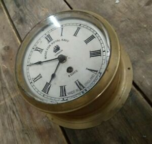 Vintage BRASS SHIP'S 8 DAY DIAL CLOCK, Royal Navy, untested, for restoration