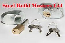 Pair of Heavy Duty Roller Shutter Guide Locks/ Pin Locks Including Housings