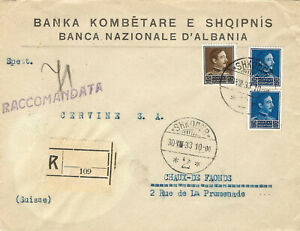 ALBANIA 1933 A cover circulated by registered mail from Shkodra to Switzerland