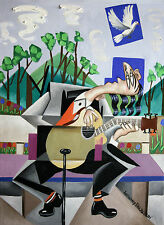 MUSIC A GIFT OF THE HOLY SPIRIT GUITAR SINGING ORIGINAL  PAINTING ANTHONY FALBO