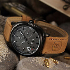 Hot Military Army Quartz Wrist Watch CURREN Mens Leather Strap Sport Fashion New