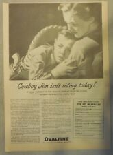 "Ovaltine Drink Ad: ""Is Your Cowboy Frail? !""  from 1930's-1940's 11 x 15 inches"