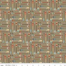 Riley Blake Flannel F5551 Tan Arrows FLANNEL Cotton Fabric BTY