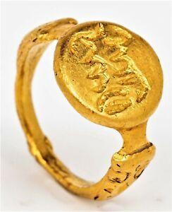Medieval Islamic, ca. Crusader Period, Solid 22K Gold Ring