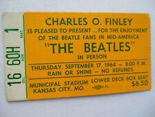 BEATLES Original__1964__CONCERT TICKET STUB__Kansas City, MO__EX(+)