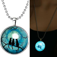 Retro Lady Three Cats Glow in The Dark Pendant Charm Necklace Steampunk Perfect