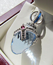 OUTSTANDING  RUSSIAN PENDANT HANDMADE OF SOLID STERLING SILVER 925 BLUE TOPAZ