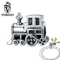New Locomotive Charms 925 Sterling Silver Fit For European Charm Bracelet VOROCO
