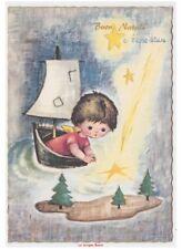 Navidad anni 70 tarjeta postal buenos deseos vintage barco velero bambino ángel