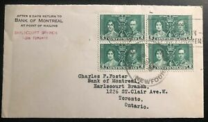 1937 St Johns Newfoundland Bank Montreal Cover King George VI Coronation Stamp
