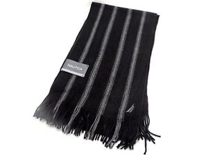 Nautica Men's Knit Scarf $55 Black Grey New! NWT