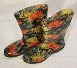 SLOGGERS Rain and Garden Boots Women's Size 9 Midsummer Black Beautiful Flowers