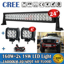 ford f53 car truck fog driving lights 24inch 160w 2x 4inch 18w led light bar wire kit fit for jeep atv 4x4wd ford f250 fits ford f53