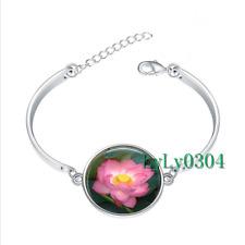 Pink Lotus Flower glass cabochon Tibet silver bangle bracelets wholesale