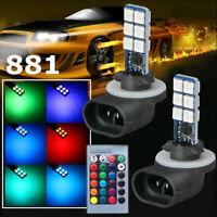 2X 881 5050 RGB LED 12SMD Car Headlight Fog light Lamp Bulb+Remote  16 Color