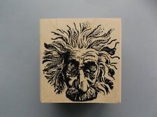 100 PROOF PRESS RUBBER STAMPS EINSTEIN MAN CRAZY HAIR NEW wood STAMP