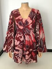 TEMPERLEY 100% Silk Dress Size 8 Uk Red Long Sleeved