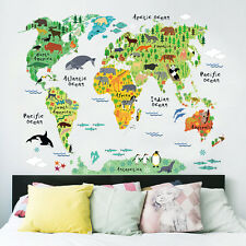 Colorful Cartoon Animal World Map PVC Removable Wall Sticker Decal Mural Hot