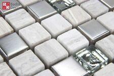 Mosaico de Cristal Azulejos Marmolado Gris Plata 30x30cm 8mm