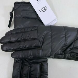 UGG Sherpa Fabric Glove w/ Zipper Quilted Insulated Black Women's Size S/M