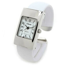 White Silver Snake Style Band Small Size Eikon Women's Bangle Cuff Watch