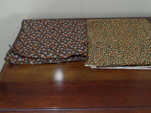 Two Pieces of Vintage Brown and Orange Calico Fabrics 1 ½ Yards.