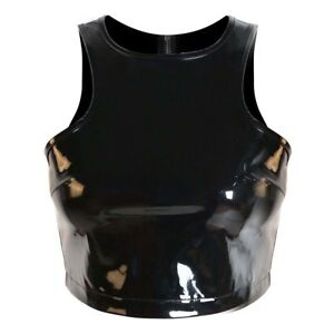 Sexy Black Sleeveless Zipper PVC Crop Top for Women Fetish Wear Costume cosplay