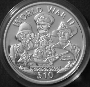 Liberia 10$ Silver Proof 1997 World War II Burma Campaign