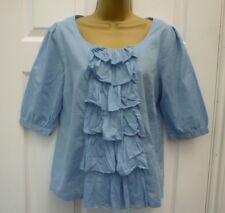 JOHN LEWIS Ladies Size 8 10 Blue Ruffle Arty Boho Lagen Work Casual Blouse Top