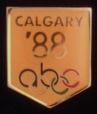 abc Olympic Media Pin Badge ~ 1988 ~ Calgary ~Yellow~New in original packaging!!
