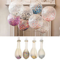 """12""""Clear Multi Colour Confetti Filled Balloons Birthday Wedding Party Decora 2Pc"""