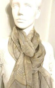 LV 100% Silk chiffon scarf Les Decors Parisiens Au Xix Siecle Beige 200X75 #6120