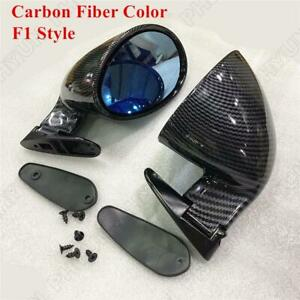 2x Universal Car Rear View Mirror Auto Door Side Wing Mirrors Carbon Fiber Color