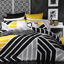Logan and Mason Scout Yellow Black Single Bed Size Doona Duvet Quilt Cover Set