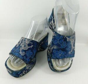 Anne Michelle  Ladies Blue Oriental Dragon Flower Print Wedge Mules Size 5