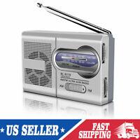 Pocket AM/FM Mini Portable Telescopic Antenna Radio Receiver Speaker BC-R119 USA