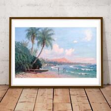Howard Hitchcock Hawaii Pali Gap From Kaneolu Bay Oahu 18X17 INCH ART