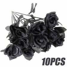 10pcs/Lot 45CM Artificial Black Rose Flower Halloween Gothic Flowers Flower Dcor