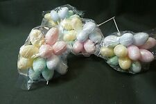 Four Bunches of 12 Eggs on One Pick, Glitter Pink, Yellow, Blue and White, Craft