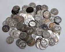 100 Circulated Washington Silver Quarters - Damaged/Worn Surfaces