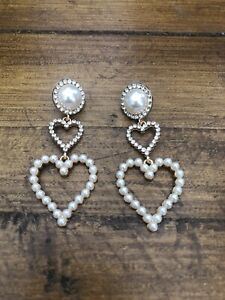Topshop Freedom Pearl Heart Statement Earrings