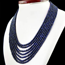 Sapphire Faceted Gems Beads Necklace 17-23''Aaa Genuine 7 Row Natural 2x4mm Blue