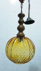 Chandelier Pendant Ball  light Vintage Wood Glass Ceiling Shade  1 Light