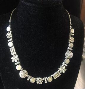 Pilgrim Danish Design Silver Tone Flowers start Necklace AB rhinestone