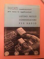 LISTINO PREZZI CONDENSATORI PER RADIO DUCATI VECCHIO PIEGHEVOLE BROCHURE