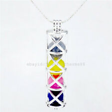 L175 Bright Silver 55mm Cross Rectangle Locket Bead Cage Pendant Necklace Charm