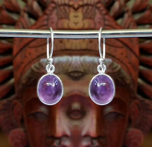 315 Amethyst Solid 925 Sterling Silver High Quality Oval Gemstone Earring rrp$40